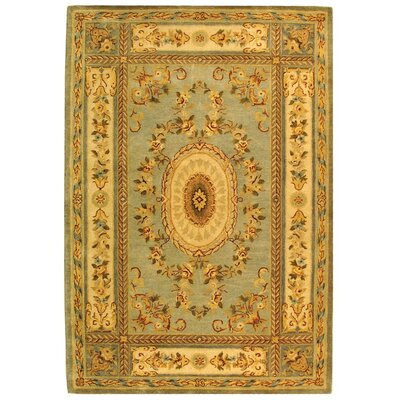 Bergama Light Blue/Ivory Area Rug Rug Size: Rectangle 5 x 8