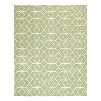 Dhurries Sage/Ivory Area Rug Rug Size: Rectangle 6 x 9