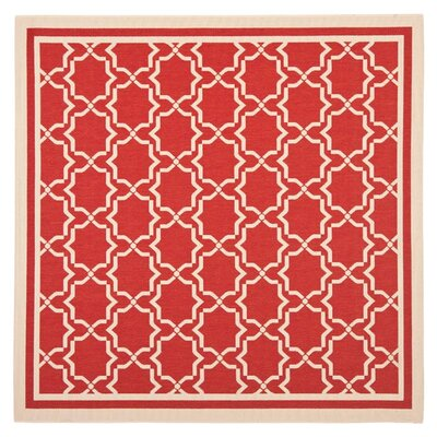 Courtyard Red / Bone Indoor/Outdoor Rug Rug Size: Square 6'7