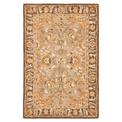 Anatolia Dark Grey/Brown Area Rug Rug Size: 4 x 6