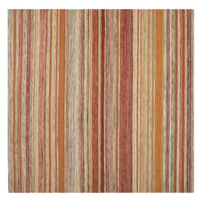 Striped Kilim Beige Area Rug Rug Size: Square 7