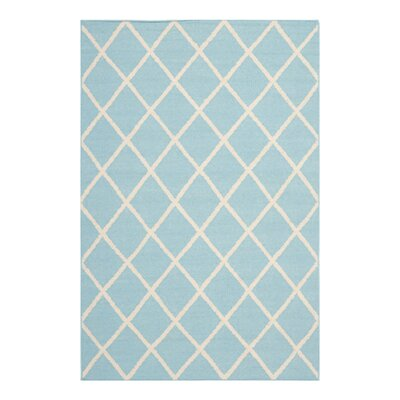 Dhurries Light Blue/Ivory Area Rug Rug Size: 26 x 4