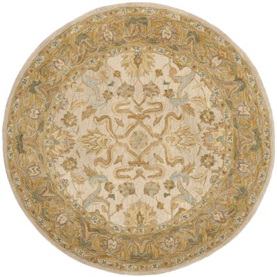 Anatolia Ivory/Brown Area Rug Rug Size: Round 6