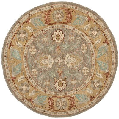 Anatolia Brown/Camel Area Rug Rug Size: Round 6