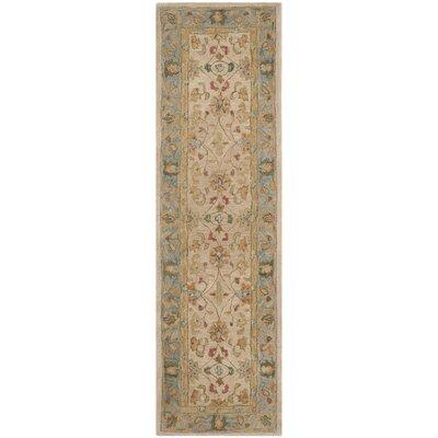 Anatolia Ivory/Blue Area Rug Rug Size: Runner 23 x 8