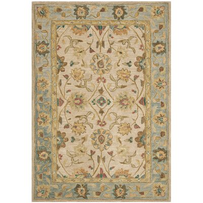 Anatolia Ivory/Blue Area Rug Rug Size: Rectangle 3 x 5