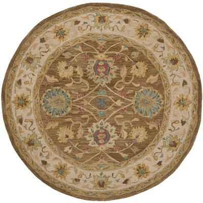Anatolia Brown/Ivory Area Rug Rug Size: Round 6