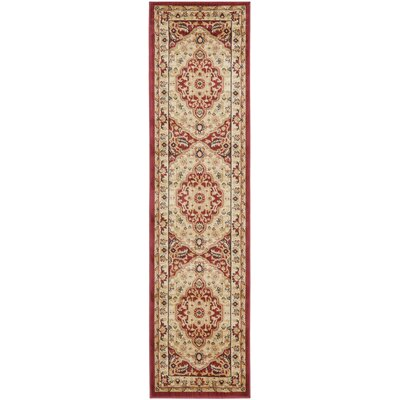 Austin Cream/Red Area Rug Rug Size: Runner 23 x 8