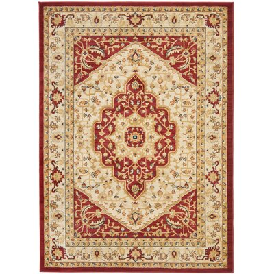 Austin Cream/Red Area Rug Rug Size: Rectangle 4 x 57
