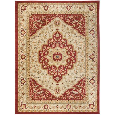 Austin Cream/Red Area Rug Rug Size: 67 x 91