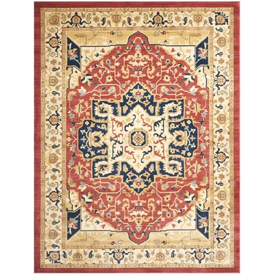 Austin Red/Creme Area Rug Rug Size: Rectangle 8 x 11