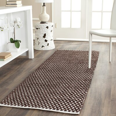 Boston Hand-Woven Cotton Brown Area Rug Rug Size: Runner 23 x 7