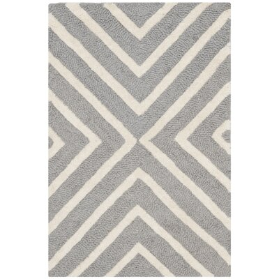 Ordingen Hand-Tufted Wool Silver/Ivory Area Rug Rug Size: Rectangle 2 x 3