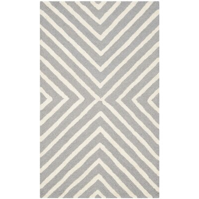 Ordingen Hand-Tufted Wool Silver/Ivory Area Rug Rug Size: Rectangle 3 x 5