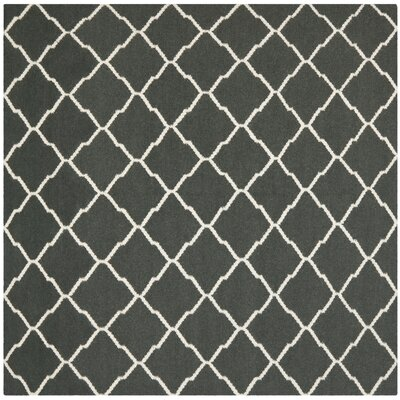 Dhurries Hand-Woven Wool Gray/Ivory Area Rug Rug Size: Square 6