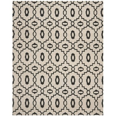 Dhurries Ivory/Black Area Rug Rug Size: Rectangle 8 x 10