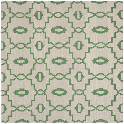 Dhurries Ivory/Green Area Rug Rug Size: Square 8'