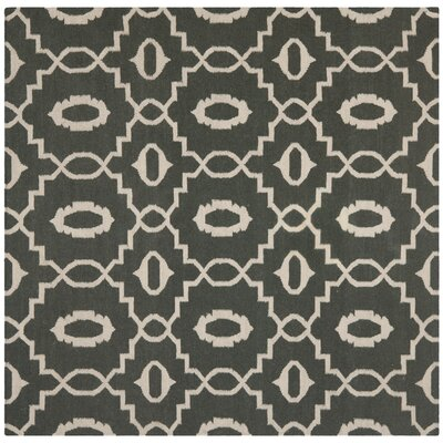 Dhurries Green/Ivory Area Rug Rug Size: Square 6