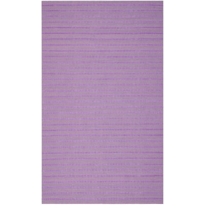 Dhurries Hand-Woven Purple Wool Area Rug Rug Size: Rectangle 5 x 8