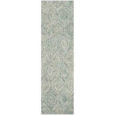 Ikat Ivory & Blue Area Rug Rug Size: Runner 2'3