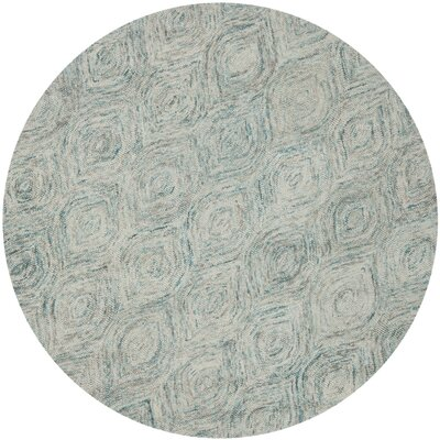 Ikat Ivory & Blue Area Rug Rug Size: Rectangle 4 x 6
