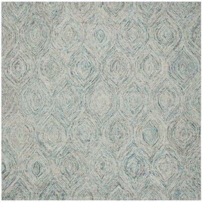 Ikat Ivory & Blue Area Rug Rug Size: Square 6