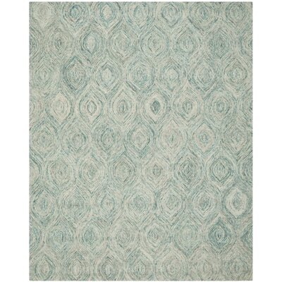 Ikat Ivory & Blue Area Rug Rug Size: 4 x 6