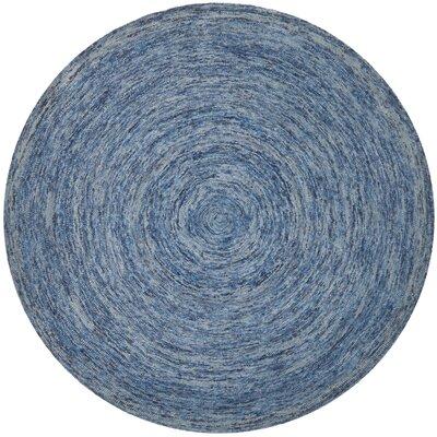 Ikat Dark Blue Area Rug Rug Size: Round 6