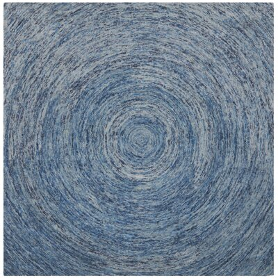 Ikat Dark Blue Area Rug Rug Size: Square 8