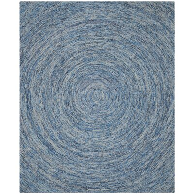 Ikat Dark Blue Area Rug Rug Size: Square 4'