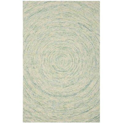Ikat Ivory/Blue Area Rug Rug Size: 5' x 8'