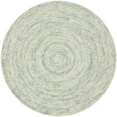 Ikat Ivory/Blue Area Rug Rug Size: Round 6