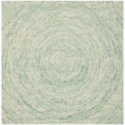 Ikat Ivory/Blue Area Rug Rug Size: Square 8