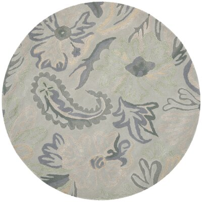 Jardin Light Grey / Multi Floral Rug Rug Size: Round 6
