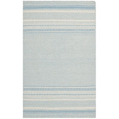 Kilim Hand-Woven Wool Light Blue/Ivory Area Rug Rug Size: Rectangle 26 x 4