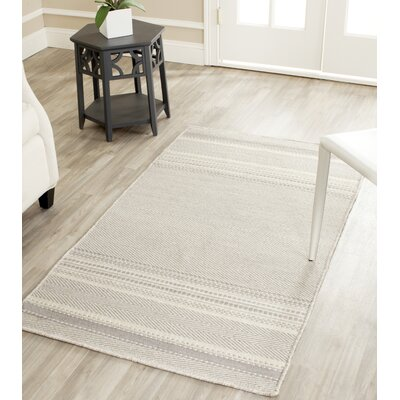 Butters Hand-Woven Grey/Ivory Area Rug Rug Size: Rectangle 3 x 5