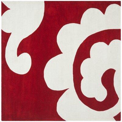 Modern Art Red / Ivory Original Rug Rug Size: Square 7