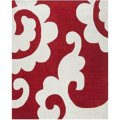 Modern Art Red / Ivory Original Rug Rug Size: 5 x 8