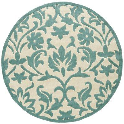 Amagansett Ivory/Light Blue Rug Rug Size: Round 66