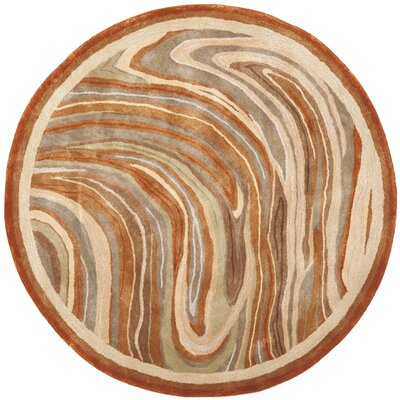 Martha Stewart Marble Swirl Oct Leaf Red Geometric Area Rug Rug Size: Round 6'