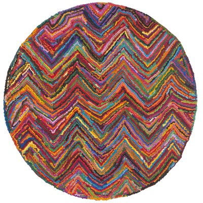 Nantucket Chevron Area Rug Rug Size: Round 4'
