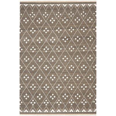 Natural Kilim Hand-Woven/Flat-Woven Brown/Ivory Area Rug Rug Size: Rectangle 6 x 9