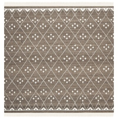 Natural Kilim Hand-Woven/Flat-Woven Brown/Ivory Area Rug Rug Size: Square 5