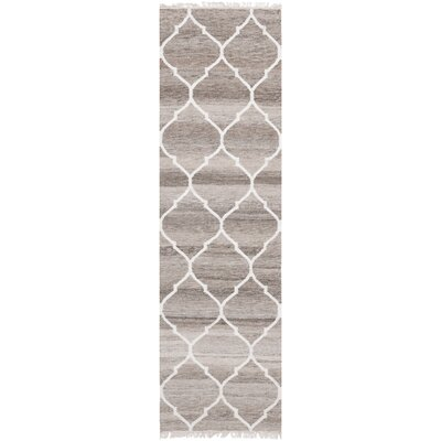 Natural Kilim Hand-Woven Light Gray/Ivory Area Rug Rug Size: Runner 23 x 10