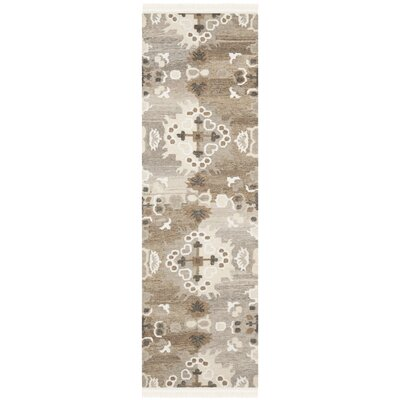 Natural Kilim Dhurrie White Area Rug Rug Size: Runner 2'3