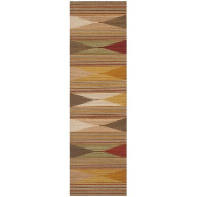 Vacaville Brown & Tan Area Rug Rug Size: Runner 23 x 8