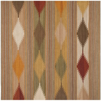 Vacaville Brown & Tan Area Rug Rug Size: Square 7
