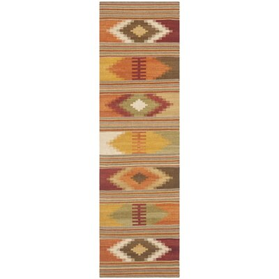 Vacaville Hand Woven Wool Red/Orange Area Rug Rug Size: Runner 23 x 12