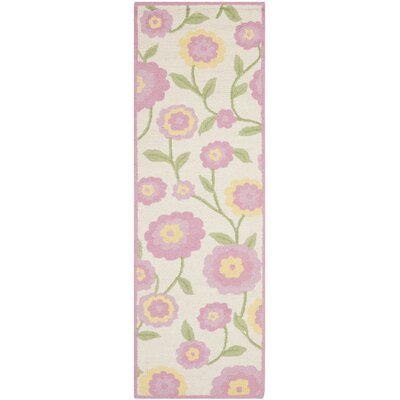 Claro Ivory & Pink Area Rug Rug Size: Runner 23 x 7