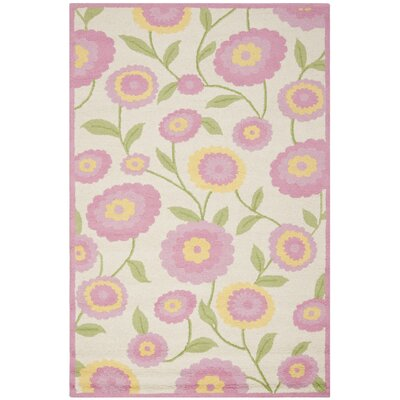 Claro Ivory & Pink Area Rug Rug Size: 2 x 3